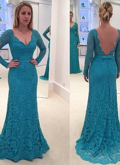 New Arrival Lace Long-Sleeves Mermaid Prom Dresses V-Neck Open-Back Evening Gowns
