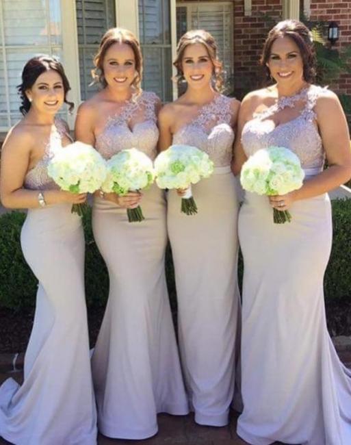 Elegant Mermaid Bridesmaid Dresses | One-Shoulder Lace Long Wedding Party Dresses