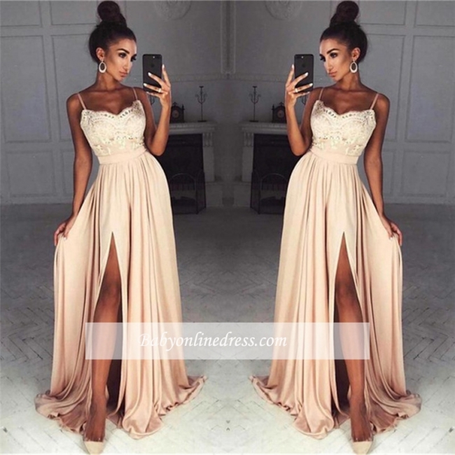 Sexy Summer Slit Evening Gowns | Spaghettis Straps Chiffon A-line Formal Dresses