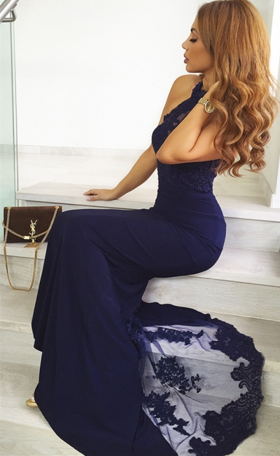 Long Fitted Navy Blue Lace Prom Dresses | Cheap Floor Length Evening Dresses