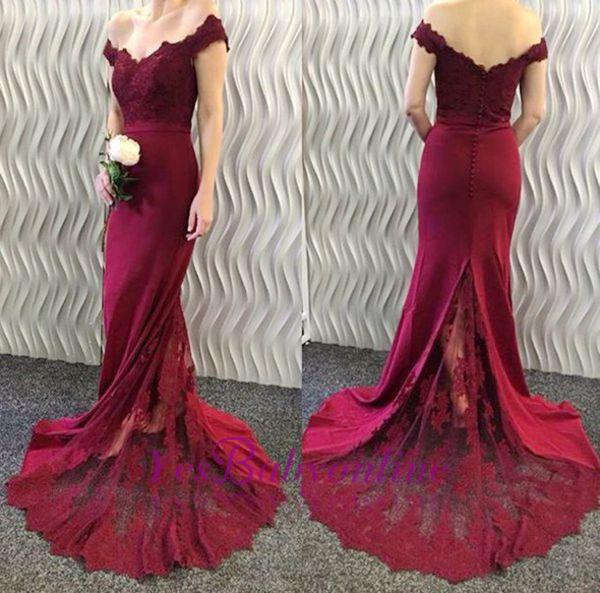 2018 Burgundy Lace Appliques Long Off-the-Shoulder Mermaid Prom Dresses LY86
