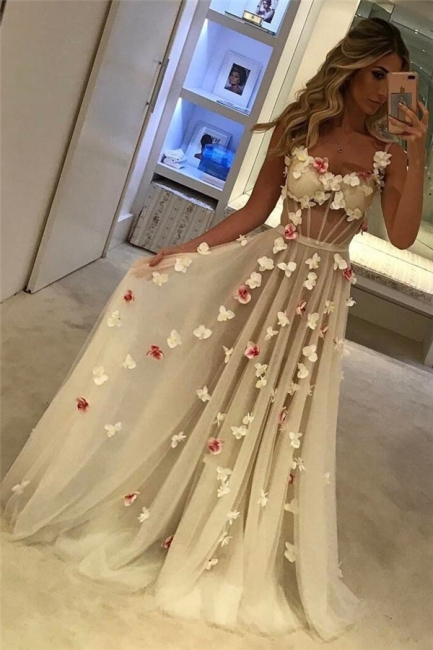 Romantic Flowers Prom Dresses   Spaghettis Straps Sheer A-line Evening Gowns