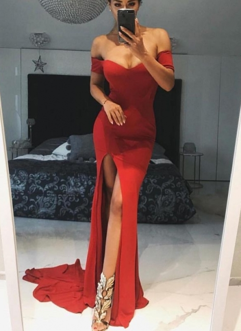 Simple Red Slit Evening Gowns | Off-the-Shoulder Long Prom Dresses