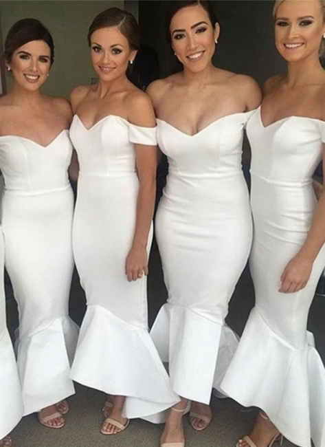 Simple White Mermaid Bridesmaid Dresses | Off-the-Shoulder Hi-Lo Maid of Honor Dress