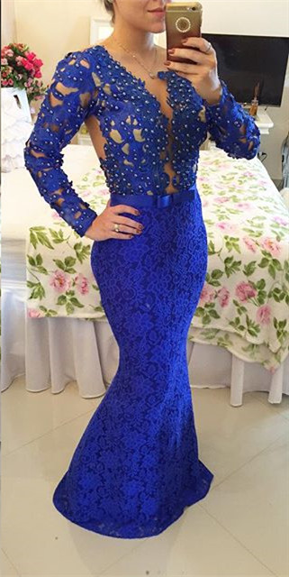 Royal Blue Long Sleeves Lace Evening Gowns Mermaid Sheer Illusion Prom Dresses