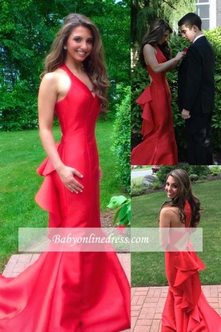 Sleeveless Elegant Mermaid Ruby Long Halter Evening Dresses