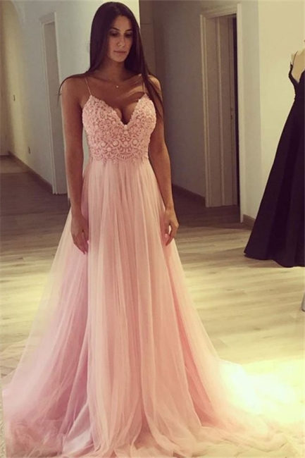 Elegant Pink A-line Evening Gowns | Spaghettis Straps Tulle Prom Dresses