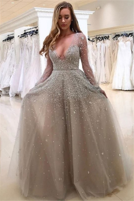 A-line Long Sleeves V-neck Floor-length Tulle Pearls Prom Dresses
