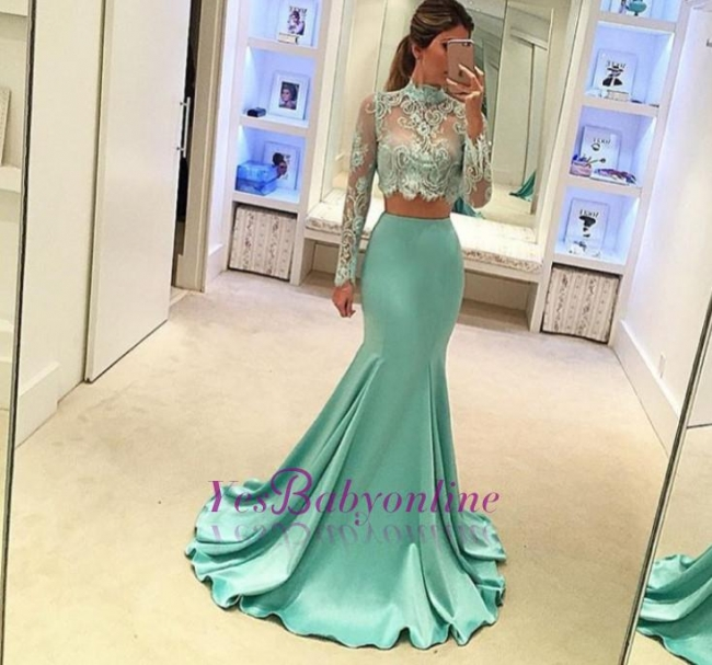 Mint Mermaid High Neck Party Dresses Long Sleeves Two Piece Prom Dresses