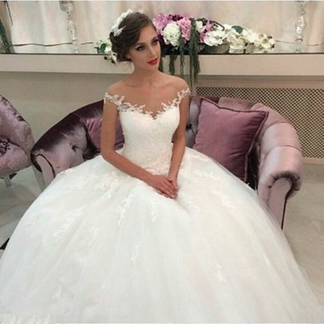 Elegant Tulle Lace Wedding Dresses Short Sleeves Bridal Gowns