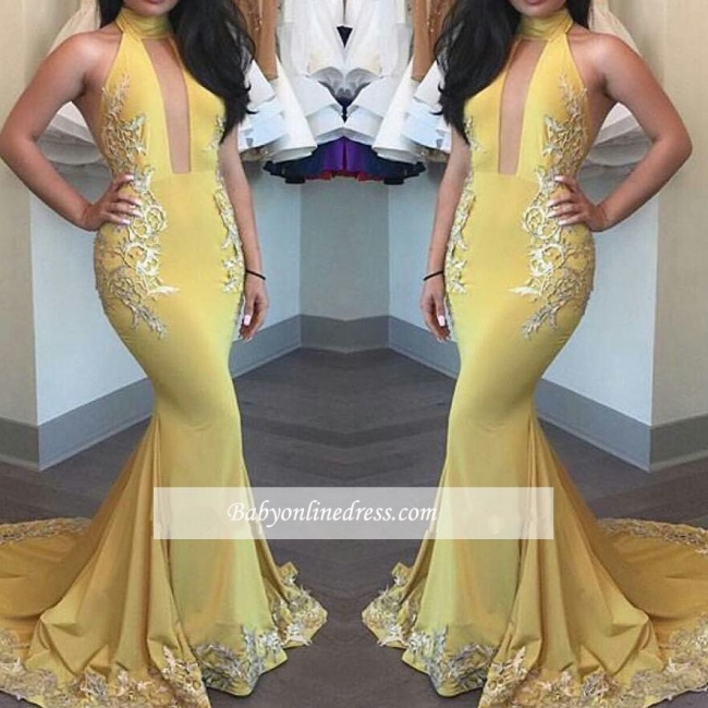 New Arrival Beautiful Yellow Appliques Keyhole Mermaid High-Neck Evening Dress