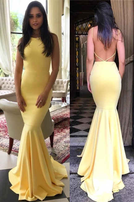 Simple Yellow Mermaid Evening Gowns | Backless Long Prom Dresses