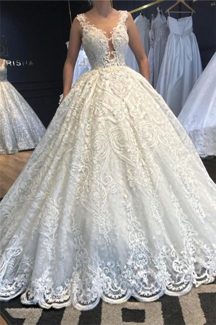 Attractive Straps Jewel Lace Ball Gown Floor Length Wedding Dress
