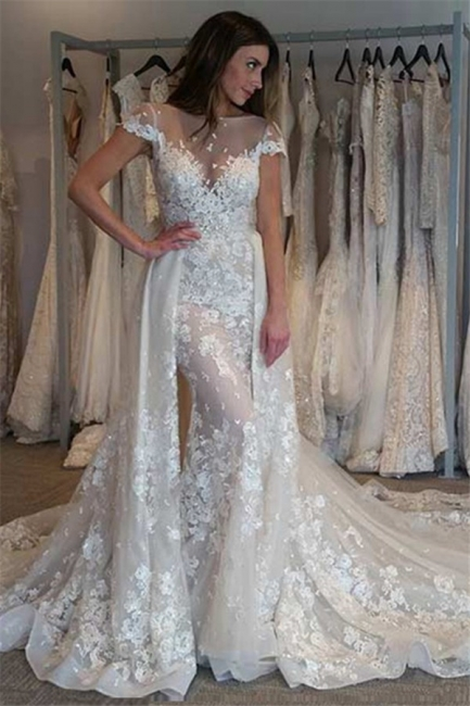 Bateau Cap Sleeve Applique Beaded Fitted Mermaid Detachable Train Wedding Dresses