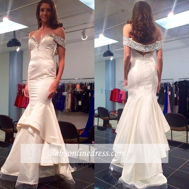 Crystal Tiered Off-the-Shoulder Mermaid Glamorous Prom Dress