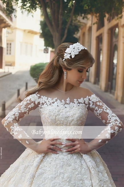 Gorgeous Ruffles Appliques Wedding Gowns Long Sleeves Crystals Tulle Wedding Dresses