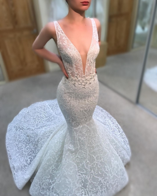 Gorgeous Lace Mermaid Wedding Dresses | V-Neck Sleeveless Beaded See-Through Bridal Gowns