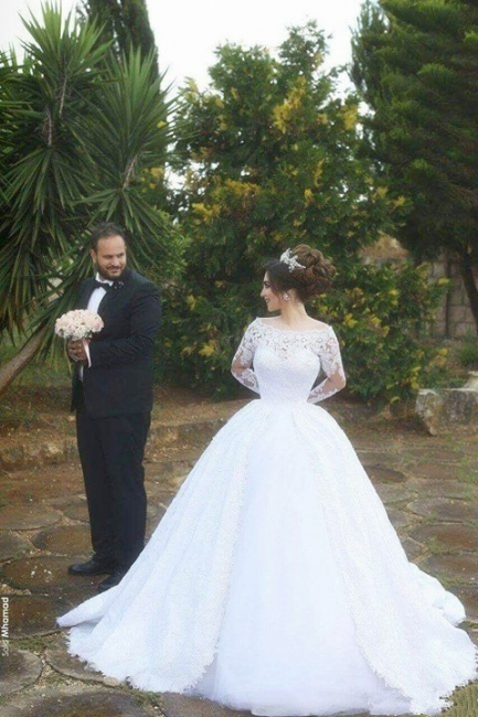 Long-Sleeves Lace Arabic White Ball-Gown Tulle Jeewl Wedding Dresses