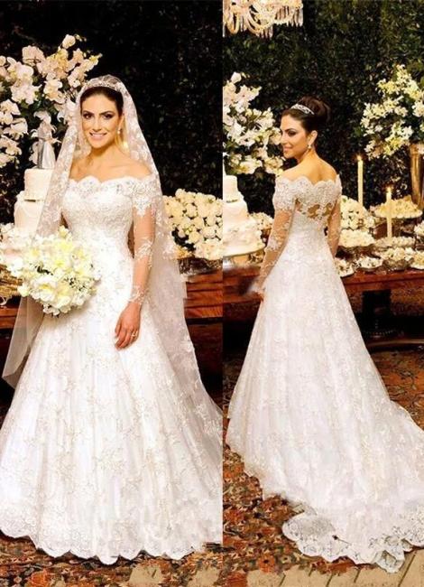 Zipper Long-Sleeve Button Lace Beautiful Wedding Dresses