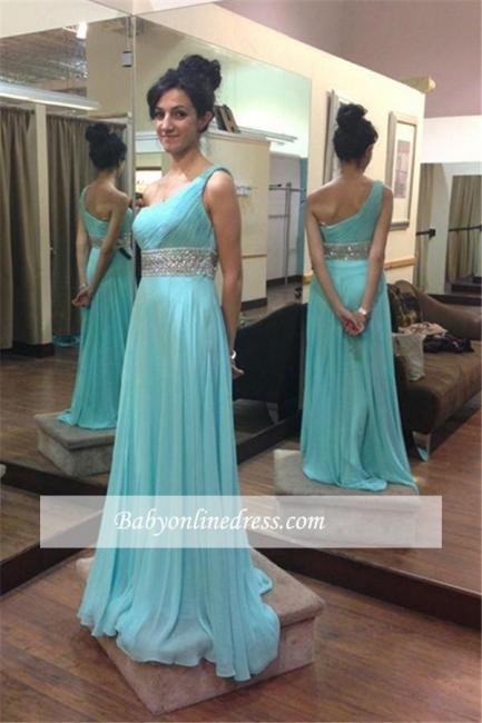Beading Empire One-Shoulder Long Chiffon Sleeveless Prom Dresses