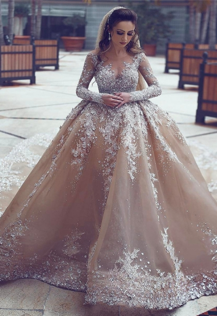 Backless Lace Appliques  Beading Cathedral Ball Gown Wedding Dresses with Long Sleeves