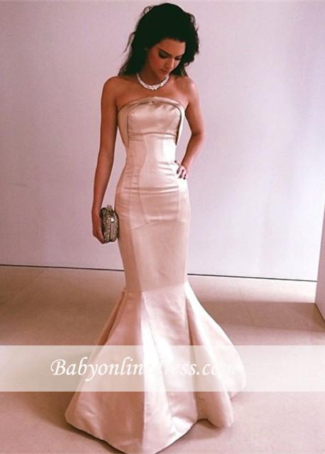 Glamorous Fit and Flare Long Strapless Prom Dresses Floor-Length Evening Dress