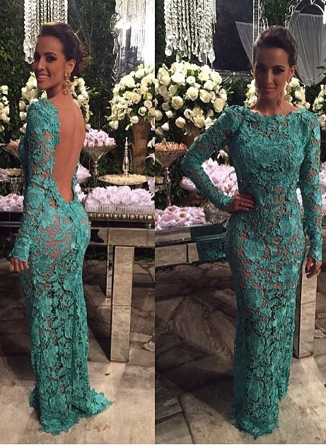 Alluring Sheer Lace Mermaid Prom Dresses Open Back Long-Sleeves Evening Gown