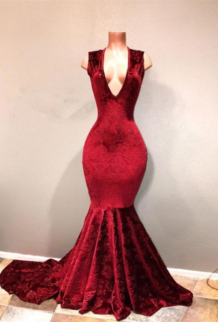 Sexy Burgundy Mermaid Prom Dresses | V-Neck Long Print Evening Gowns
