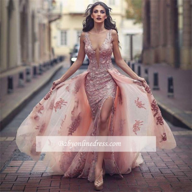 Slit V-neck Tulle Overskirt Pink Appliques Lace Amazing Front Evening Dress
