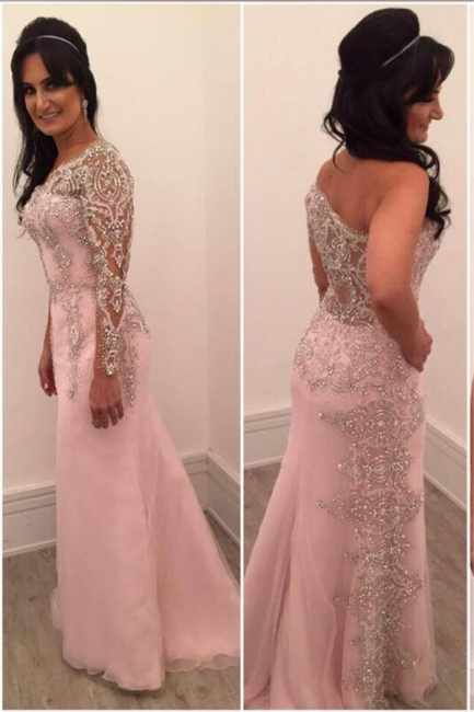 A-line One-shoulder Floor-length Chiffon Beading Appliques Prom Dresses