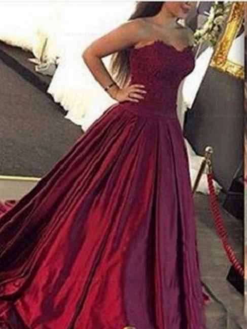 Sweetheart Elegant Burgundy Ball-Gown Lace-Applique Prom Dresses