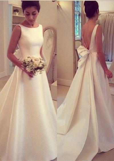 Elegant Backless Sleeveless Sweep Train Jewel Bow A-line Wedding Dress