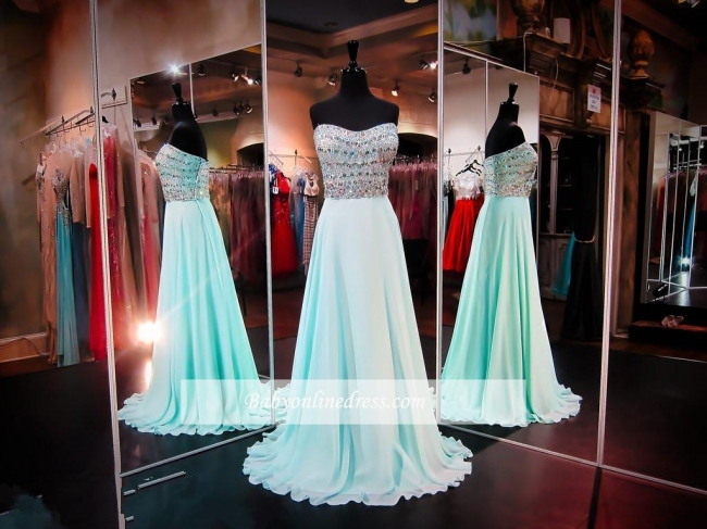 Straps Strapless Sleeveless A-line Prom Dress Crystals Chiffon Evening Gowns