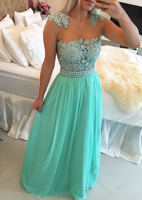 Mint Green Lace Pearls Chiffon Prom Dresses Sheer Neck Capped Sleeves Long Evening Gowns