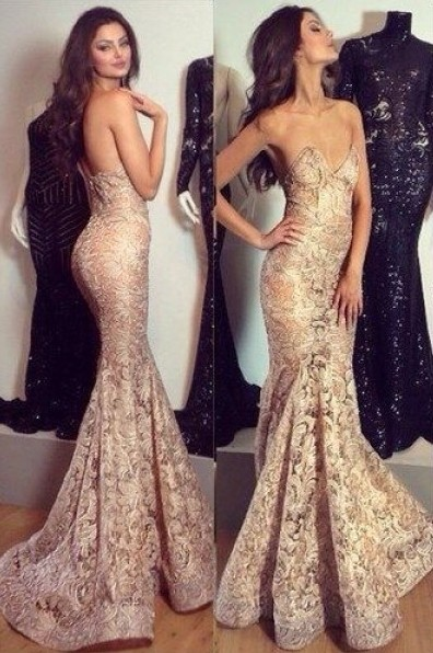 Alluring Mermaid Sweetheart-Neck Prom Dress Champagne Lace Evening Gowns