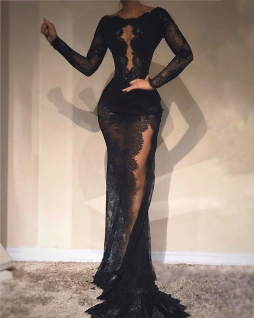 Black Long Sleeves Mermaid Evening Dresses | Scoop See-Through Lace Side-Slit Prom Dresses