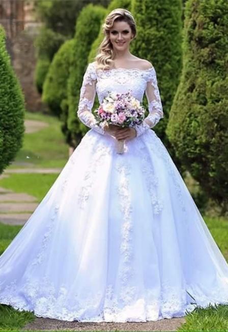 Long-Sleeve Princess Button Lace Zipper Wedding Dresses