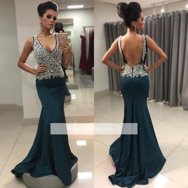Sexy V-Neck Mermaid Crystal Backless Sleeveless Prom Dress