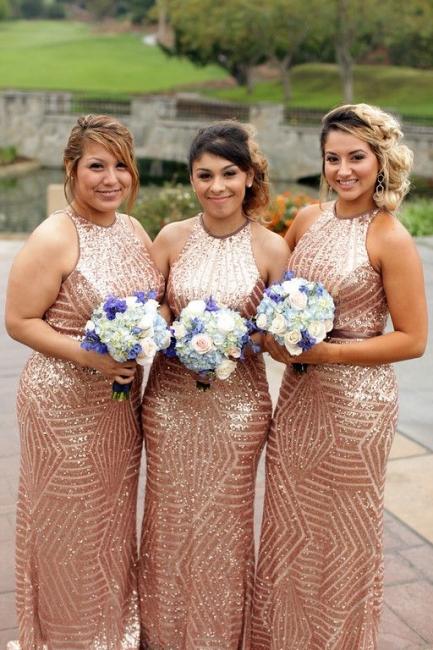 Sexy Sequins Mermaid Bridesmaid Dresses   Halter Sleeveless Wedding Party Dresses