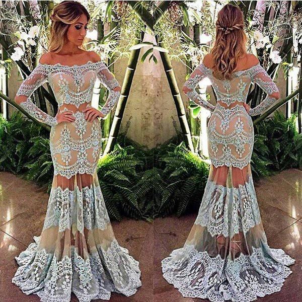 2018 Off-Shoulder Long Sleeve Sheer-Skirt Mermaid Lace Prom Dress BA4074