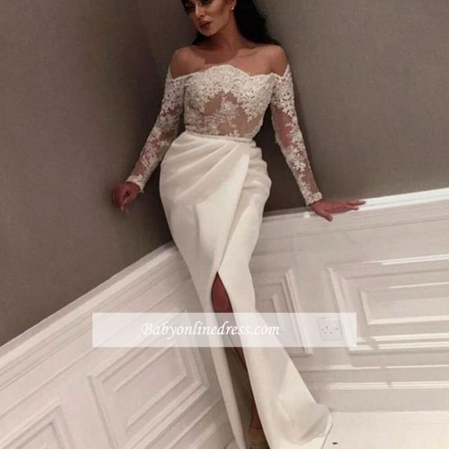 White Off-the-Shoulder Side-Slit Evening Gowns
