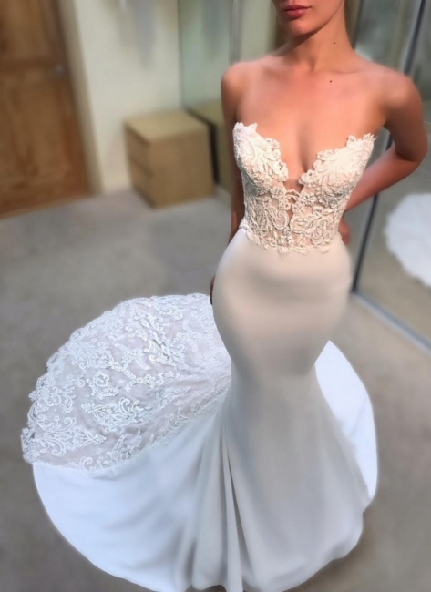 Simple Appliques Mermaid Wedding Dresses | Sleeveless Long Court Train Bridal Gowns