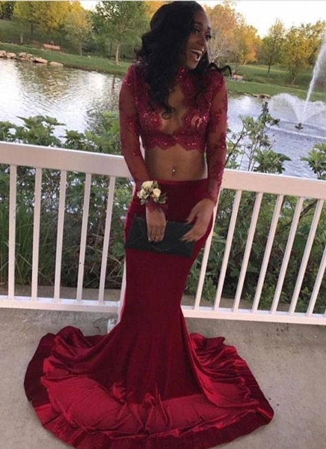 Sexy Two-Piece Prom Dresses | Long Sleeves Mermaid Evening Gowns