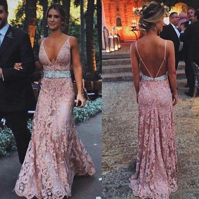 Sexy Zipper Lace Tulle Pink Long V-Neck Prom Dress with Beadings