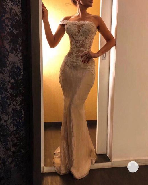 Elegant One-Shoulder Mermaid Prom Dresses | Illusion Bodice Sleeveless Lace Evening Dresses