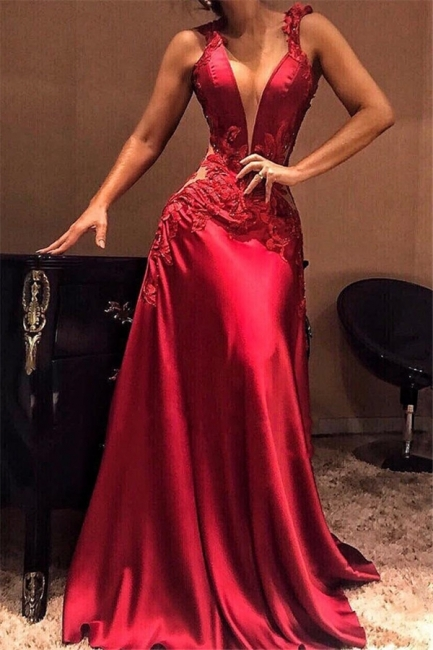 Sexy Burgundy Mermaid Evening Dresses | Deep V-Neck Appliques Sheer Long Prom Dresses