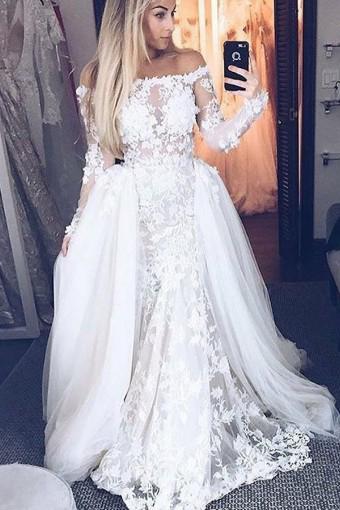 Off-The-Shoulder A-Line Wedding Dresses | Bridal Lace Appliques Dresses For Wedding