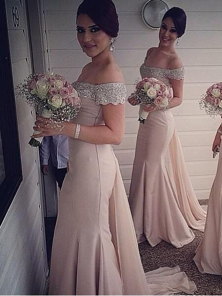 Sexy Off-the-Shoulder Mermaid Bridesmaid Dresses Sweep Train Beaded Party Dresses