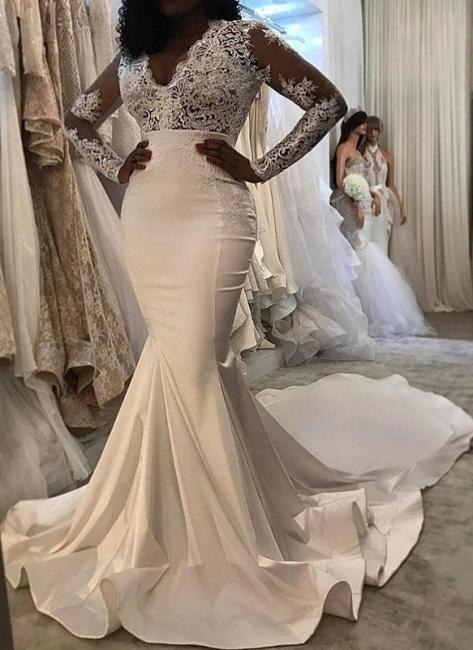 Elegant Long Sleeves Wedding Dresses | V-Neck Lace Mermaid Bridal Gowns
