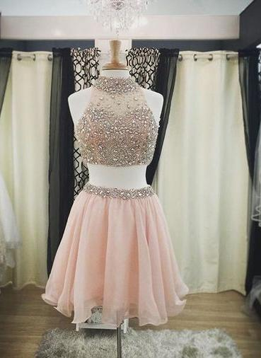 Halter-Neck Two-Piece Pink Blush Crystals Luxury Short Homecoming Dresses